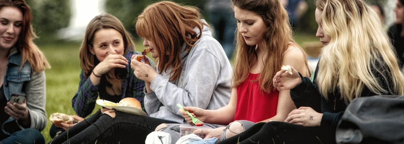 Group of girls eating food