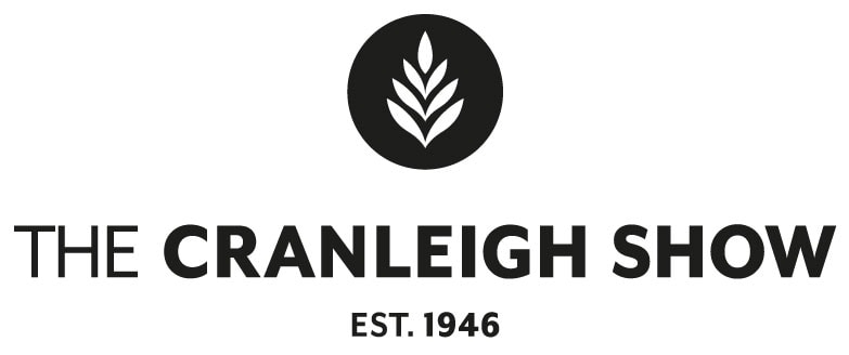 Logo for the Cranleigh Show. A simple logo in black with bold text and the icon of a wheat ears.